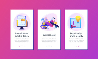 Designers work on new brand and big megaphone. Brand identity and logo, business card, advertisement and graphic design concept on white background. Mobile UI UX GUI template, app interface wireframe