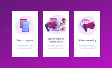Business team with megaphone and media icons work on search engines optimization. Online marketing, seo tools concept on white background. Mobile UI UX GUI template, app interface wireframe