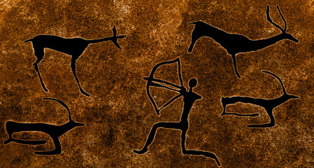 image of ancient hunting on the cave wall. history, epoch, archeology.