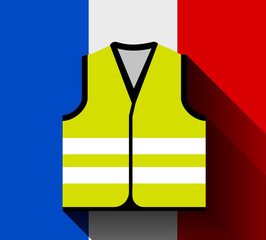 Yellow vests, as a symbol of protests in France against rising fuel prices. Yellow jacket revolution. illustration against the flag of France with long shadow