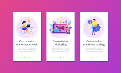 Marketer delivering ads with megaphone and devices. Cross-device marketing, cross-device marketing analysis and strategy concept on white background. Mobile UI UX GUI template, app interface wireframe