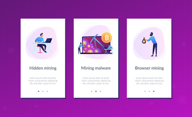 Scammer in mask stealing cryptocurrency from mining pool on laptop. Hidden mining, miner bot and mining virus concept on white background. Mobile UI UX GUI template, app interface wireframe