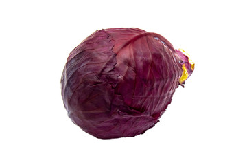Red cabbage isolated on a white background.
