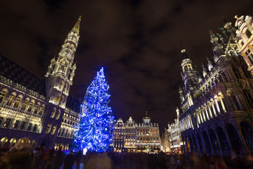 Foto op Canvas Brussel grote markt place on a christmas evening brussels belgium