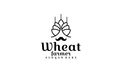 wheat farmer logo template