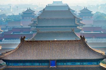 Yellow Roofs Forbidden City Beijing China