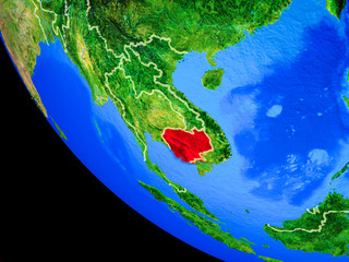 Wall Murals Turquoise Cambodia on realistic model of planet Earth with country borders and very detailed planet surface.