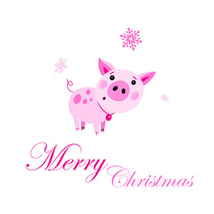 Festive Christmas card with a pink vector funny pig