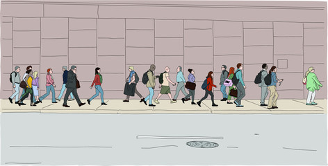 A crowd of people crossing the street at rush hour in a big city. Hand drawn vector illustration.