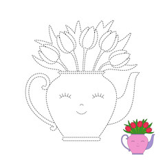 worksheet for preschool kids with easy gaming level of difficulty. Simple educational game for children. Illustration of bouquet of tulips in funny teapot