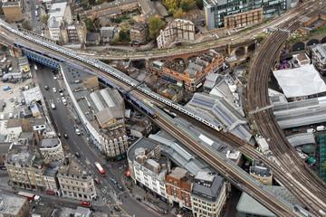 Wall Murals New York Aerial view of railways in Southwark district - London, UK
