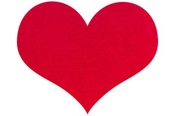 Felt red heart isolated on white background