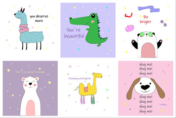 set of different cute postcards with inscriptions with Lama, dog, camel, crocodile, Panda and bear