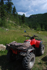Four Wheeler Parked in a Meadow in the Black Hills of South Dakota