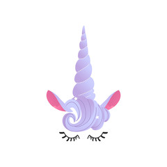 Unicorn cute face vector illustration in cartoon style - pretty fantasy animal closed eyes with long eyelashes, purple horn with mane and ears isolated on white background.
