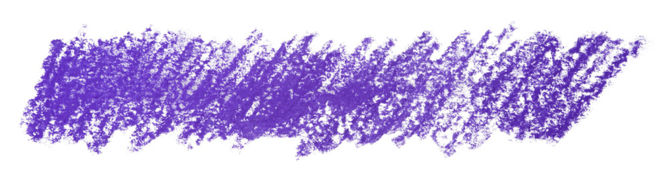 Color purple wax pencils background detailed backdrop with crayon scribble texture texture. Abstract stain isolated on white background