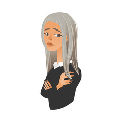 Upset offended young woman standing with crossed arms in flat cartoon style isolated on white background - vector illustration of frustrated unsatisfied and displeased female character.