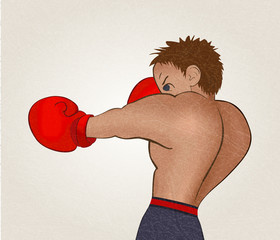 Young boxer in  dark shorts trained on white background. Colored isolated  illustration for emblem, label, badge, flier, leaflet. Vector with noise and texture, marble textured background. Horizontal