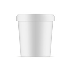 Ice cream cup mockup isolated on white background - front view. Vector illustration