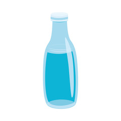 Vector illustration of glass bottle with water in flat style isolated on white background. Eco friendly reusable jar for drink storage for healthy lifestyle or zero waste concept.