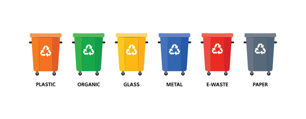 Empty trash bins of different colors for various types of garbage in flat style - isolated vector illustration of recycle and environmental protection concept with containers for sorted waste.