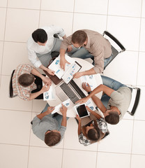 top view.the business team holds a round table