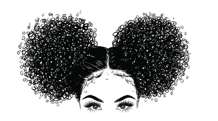 Curly beauty girl illustration isolated on clear background. Double buns with long hair. Hand draw idea for business cards, templates, web, brochure, posters, postcards, salon Wall mural