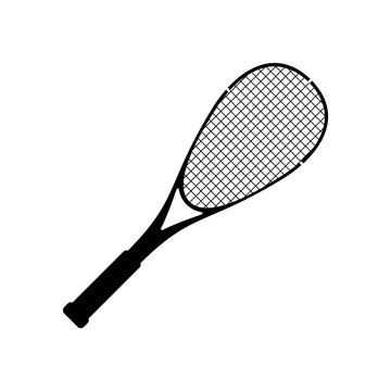 Vector squash racquet silhouette black icon. Ground game equipment. Professional sport, classic tennis racket for official competitions and tournaments. Isolated illustration