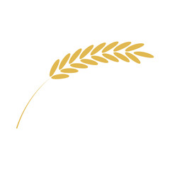 Vector illustration of cereal ear simple icon in flat style isolated on white background - ripe yellow spike of grain plant for bakery, organic farming food or beer design.