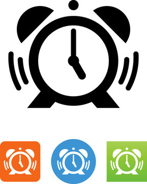 Alarm Clock With Ringer And Soundwaves Icon - Illustration