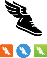 Athletic Shoe With Wings Icon - Illustration