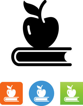 Apple With Book Icon - Illustration