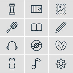 Vector illustration of 12 lifestyle icons line style. Editable set of book, graphite, music note and other icon elements.