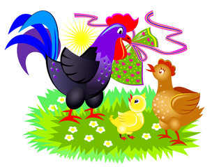 Illustration of cute chicken family. Easter greeting card. Cover for children book. Mother, father and baby. Rooster giving a present. Vector cartoon image.