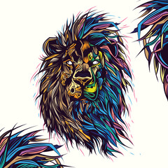 Original vector illustration of a Lion, on a white background. Abstract style in neon light