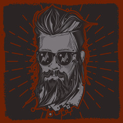 Original vector portrait of a man with a hipster hairstyle, and a beard on a dark background. Print on t-shirt and stickers