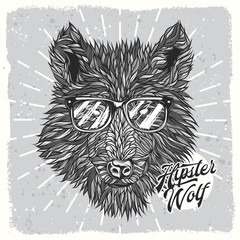 Original vector illustration of hipster wolf with glasses, in black and white style