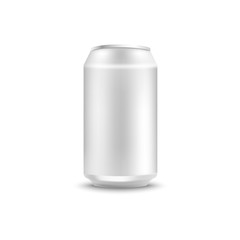 Blank aluminum can mockup for soda or beer in realistic 3d style - isolated vector illustration of side view on empty white metallic pack for alcohol or fizzy sweet drink branding and promotion.