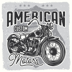 Vector black and white image of a motorcycle.