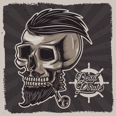 Vector illustration of a skull with a pipe for tobacco. Vintage skull print with beard and hairstyle