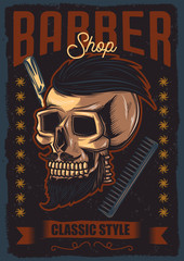 Original vector poster. Skull funky hair, mustache and beard. Advertising barbershop