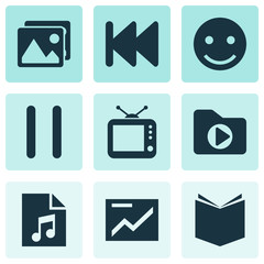 Media icons set with tv, song list, pause and other gallery  elements. Isolated vector illustration media icons.