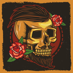 Original vector image. Drawing for tattoo. Skull with roses.