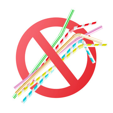 Vector no to plastic straws concept with colorful cocktail straws in red crossed circle. Environment pollustion prohibition, forbidden of disposable garbage cant be recycled.