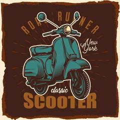 Classic scooter. Vector illustration. Design for emblem or t-shirt.