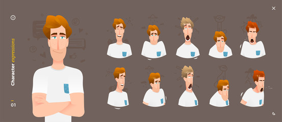 Character Expressions. Face Man Emotions