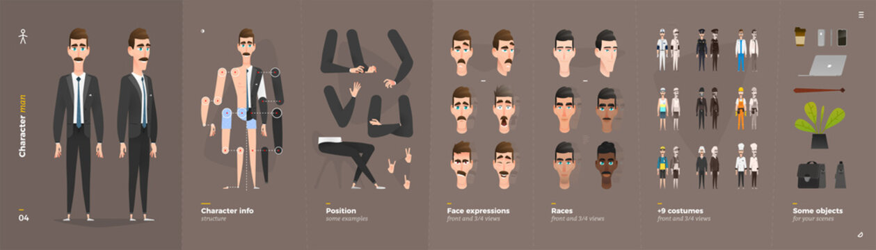 Cartoon Character Animation Set For Your Motion Design.
