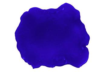 Close up photo of blue  slime blot isolated on white background