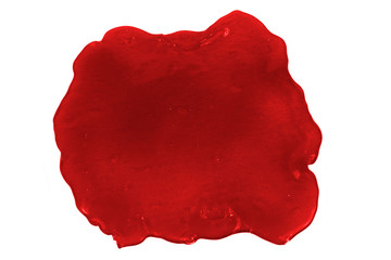 Close up photo of red slime blot isolated on white background