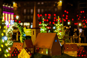 Christmas street decoration of Strasbourg, highlighted buildings and new year atmosphere